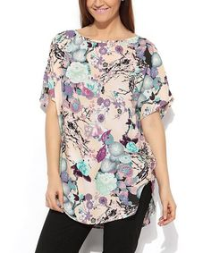 Cream & Teal Floral Shirttail Top - Plus #zulily #zulilyfinds