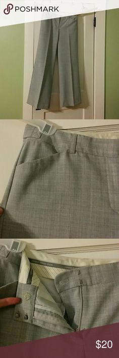 Express Grey Editor Pant Express grey Editor Pant. Front zipper, hook and button closure. Wide leg. Express Pants Trousers