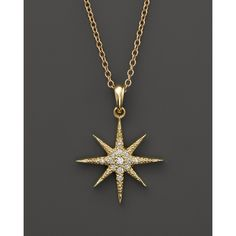 """Mizuki 14K Yellow Gold Icicle Star Necklace with Diamonds, 16"""" ($1,190) ❤ liked on Polyvore featuring jewelry, necklaces, necklace's, yellow gold, 14k diamond pendant, pendant necklace, gold pendant necklace, gold diamond necklace and 14k yellow gold necklace"""