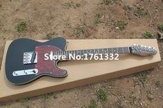 Usine personnalisé noir guitare électrique avec 2 micros, chrome matériel, tortue shell pickguard, peut être cusomized comme votre demande