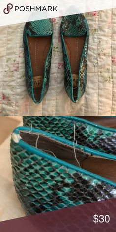 Unique Snake Skin Dolce Vita Loafers. Size 7 Gently used. Minor fraying near heel (as depicted) Teal and black! Dolce Vita Shoes Flats & Loafers
