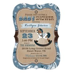Rocking horse baby shower invitation rustic invite white wash wood rustic cowboy western rocking horse baby shower card filmwisefo Gallery
