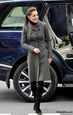 whatkatewore:  Duchess of Cambridge, North Wales, November 20, 2015-The Duchess repeated her Reiss Angel Fit and Flare coat, debuted in 2011, with a black turtleneck and black jeans and accessorized with her Aquatalia Rhumba boots and Kiki McDonough Citrine Drops