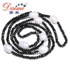 DAIMI 11-12MM Natural Big Rice Pearl & 4mm Crystal Necklace White Black Jewelry 90cm Long Pearl Necklace //Price: $23.57 & FREE Shipping // Get it here ---> https://bestofnecklace.com/daimi-11-12mm-natural-big-rice-pearl-4mm-crystal-necklace-white-black-jewelry-90cm-long-pearl-necklace/    #jewellery