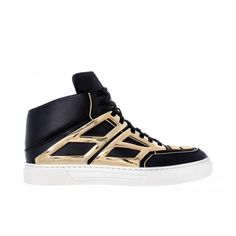 Alejandro Ingelmo Tron - Womens ($525) ❤ liked on Polyvore featuring shoes, sneakers, sapatos, chaussures, zapatos, metallic gold sneakers, black leather shoes, black gold shoes, black trainers and black sneakers