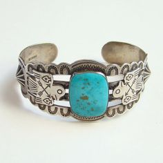 452d1b637eb9 Vintage Navajo Fred Harvey Era Turquoise Cuff Bracelet Thunderbird Marked  Sterling by redroselady on Etsy Turquoise