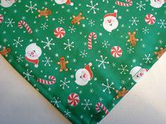 Dog Bandana/Scarf Unisex Cotton Tie/Slide On Christmas Green Santa Candy Canes  #CustommadebyLinda