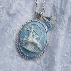 Goddess Cameo Necklace - Diana - Artemis - Huntress - Goddess of the Hunt - Forest - Woodland Wedding - Nature - Blue and White - long chain...