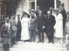 At Government House: Lady Samuel; H.H. the Amir Abdallah; Sir Herbert Samuel; Mr. Winston Churchill; Mrs. Churchill. Second row: Mr. E[dwin] H. Samuel; Mr. James de Rothschild; Mrs. Deedes; Mr. Storrs; Mr. Godfrey Samuel [March 1921]