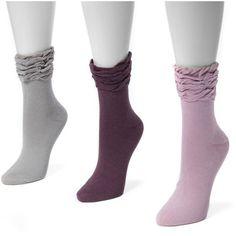 Women's MUK LUKS 3-pk. Ruffled Crew Socks ($26) ❤ liked on Polyvore featuring intimates, hosiery, socks, multicolor, colorful crew socks, muk luks socks, crew cut socks, crew length socks and ruffle socks