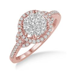 Radiant Flame .60 Ctw Diamond Engagement Ring in 14K Rose and White Gold