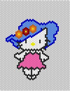 Hello Kitty With Flower Hat Bead Pattern