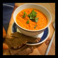 I love soup to warm up in october. roasted carrot soup - About 5-6 portions