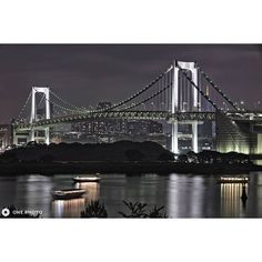 """Instagram【onephoto.jp】さんの写真をピンしています。 《Photo by Hiroshi.N  Rainbow bridge taken from Odaiba. Land side of Shibaura and Odaiba made in the Tokyo Bay, two of the main tower brilliant to represent the two ends of the land have tried to express in such a way that the leading role """"HDR"""". The back of the group of buildings, bridges exposed to lighting, dark Odaiba. If the brightness is greatly different elements into the composition, has it on the performance of the sensor camera difficult to…"""