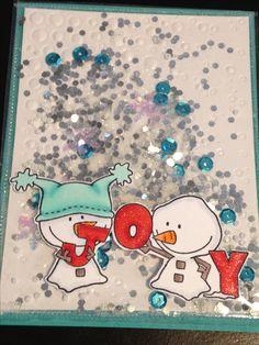 Christmas Shaker Card - C.C. Designs Snow Joy Stamp - Spellbinders Cascading Dots Die - Memento Tuxedo Black Ink - Copics:  E71, E74, BG10, BG11, BG13, YR02, YR04, R24, R29, C1, 0 - Tim Holtz Distress Glitter Clear Rock Candy, Treehouse Studio Jumbo Glitter Silver