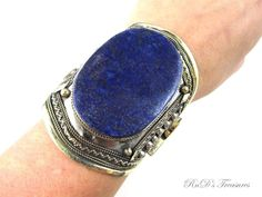Huge Tribal Ethnic Genuine Blue LAPIS LAZULI Chunky CUFF Bracelet