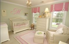 Classic celery green & pale pink with cotton candy pink accents makes for a classic baby girl's room. If you wanted to make this room a little more current...you could paint the dresser a soft pink & add special harware or cover the chair in a celery gingham check to eliminate so much vanilla.