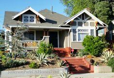 Jefferson Park CA Craftsman bungalow home Drought Resistant Landscaping, Craftsman Porch, Jefferson Park, Bungalow Homes, Craftsman Bungalows, Los Angeles Homes, Park Homes, Home Photo, Long Beach