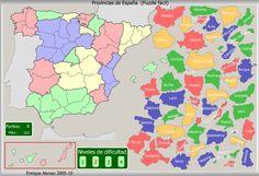 Mapa interactivo de España Provincias de España. Puzzle fácil. Enrique Alonso - Mapas Interactivos