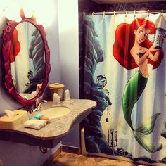 The Little Mermaid inspired Disney Hotel bathroom Little Mermaid Bathroom, Disney Bathroom, Mermaid Bathroom Decor, The Little Mermaid, Bathroom Ideas, Mermaid Room, Basement Bathroom, Bathroom Wall, Master Bathroom