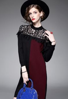 F/W Hit Colour Design One-piece Dress A102720RD from Sunnydaysweety in red_5