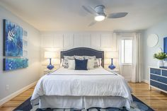 Blue Coastal Master bedroom Custom Artwork by E Angelina Woehr Blue Lamps Paneled wall One Room Challenge Coastal Master Bedroom, Dream Bedroom, Kure Beach, Master Suite, Ideal Home, Challenges, Interior Design, Blue Lamps, House