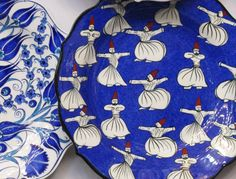 Turkish plate with whirling dervishes