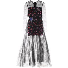 Msgm  Embroidered Tulle Dress ($1,595) ❤ liked on Polyvore featuring dresses, nero, embroidery dresses, embellished cocktail dresses, tulle dress, sequin cocktail dresses and embroidered tulle dress