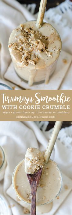 Vegan Tiramisu Smoothie with a 30 second quick cookie crumble (gluten-free). Creamy, dreamy and secretly healthy. Made with coffee, cacao, frozen banana, cauliflower and dairy-free yogurt. All the flavours of tiramisu!