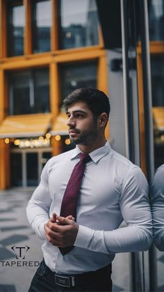 Shirt with tie combination. Go to Tapered Menswear for our exclusive range of mens formal shirts. Sharp Dressed Man, Well Dressed Men, Body Transformation Workout, Business Outfit, Business Wear, Formal Shirts For Men, Rugby Men, Stylish Mens Outfits, Muscular Men