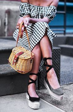 Gingham off the shoulder dress, lace up shoes, straw bucket bag