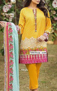 Mustard Lawn Suit. | Buy Alkaram Dresses
