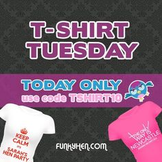 Cheap personalised hen party t-shirts and vest tops every Tuesday at Vest Tops, Hens Night, T Shirt Vest, Vests, Tuesday, Party, Shirts, Women, Parties