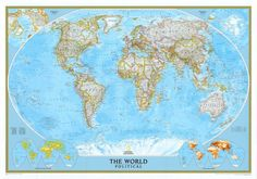 Amazon.com : World Classic Political Map (Two Sizes and Spanish Available) Map…