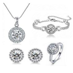 Fashion Crystal Pendant Necklace Set,Round Cut Cubic Zirconia Gemstone Jewelry Sets for Women Valentine's Day Gifts
