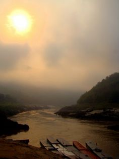 Sunrise over the River Mekong - Pak Beng, Laos.