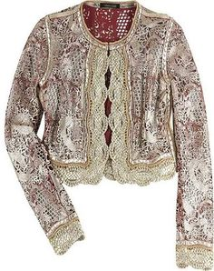 ShopStyle: Roberto Cavalli Laser cut leather bomber