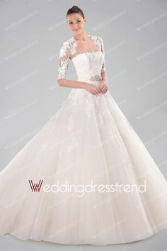 Spectacular Appliqued Draped Ball Gown Wedding Dress