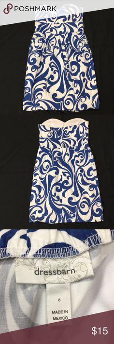Dress Blue and white strapless dress w/ pockets  worn once Dress Barn Dresses Strapless