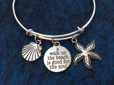 A Walk on the Beach is Good for the Soul Word Quote on Expandable Adjustable Wire Bangle Bracelet Ocean Nautical Gift