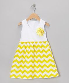 Take a look at this White & Yellow Zigzag Dress - Toddler & Girls on zulily today!