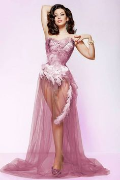 """Stunning Burlesque Star IMMODESTY BLAIZE in the Sparklewren """"Oyster Gown"""". Shot by Clive Arrowsmith."""