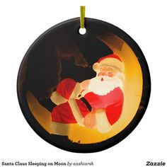 #Santa Claus Sleeping on #Moon Ceramic #Ornament #Christmas #Christmas2016 #Christmasdecoration