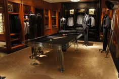 Impatia crystal pool table in the Ralph Lauren Flagship store in New York, featuring black Simonis cloth.  #fashion #luxury #newyork #luxuryfinds #wishlist #luxuryinteriors #retaildesignideas #interiordesignispiration #designlayout #pooltable #gameroomideas #furniture #luxxuryfurniture