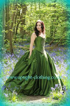 woodland forest green hourglass corset wedding dress with a full ball gown bustle skirt in green silk; Uptight Clothing wedding dress in green silk, willow, fairytale, fairy style, medival style, woodlands wedding dress , suitable for pagan, hand fasting, celtic nature based wedding dress by janice whitehorn