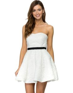White lace dress with black belt