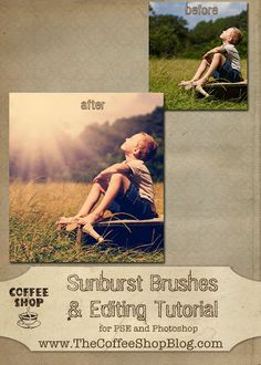 fun and free sunburst brush, and gives a tutorial on how to use it. Very cool!!