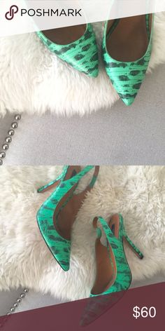Ann Taylor Snakeskin Slingback Pumps So classic but so fun! Bright green Ann Taylor snakeskin sling back pumps. Light scuff on the heel but barely noticeable. Ann Taylor Shoes Heels