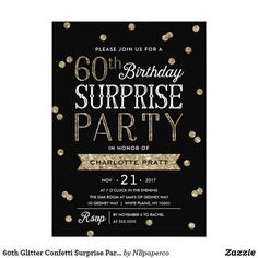 60th Glitter Confetti Surprise Party InvitationThis chic and stylish 60th Birthday Surprise Party invitation features an elegant faux rose gold glitter confetti theme with modern typography. Customize background color to match event theme color. For an even more memorable invitation select a die-cut shape, textured paper or a double thick paper. For a custom birthday year, please message us and we will send you a direct link.