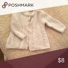 Sweater White knit sweater. Four buttons at top. Wore once. Excellent condition nursery rhymes Shirts & Tops Sweaters